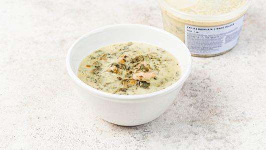 Суп из шпината с филе лосося с бесплатной доставкой на дом из «ВкусВилл» | Москва и область